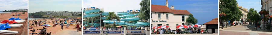 Goodrington Beach, Quay West water park, Inn on the Quay and Shopping in Paignton